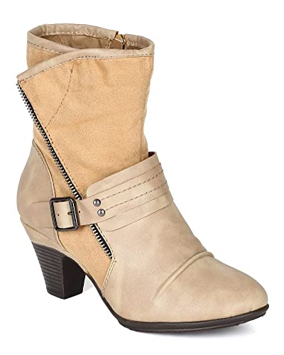 BF06 Women Mix Media Round Toe Ankle Strap Zipper Decor Ankle Bootie - Nude