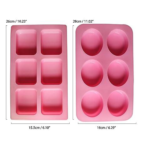 Kurtzy Moldes Jabones Silicona - 8 Piezas 18 Cavidades Kit Suministros Molde Hacer Jabón Baño - Haga Formas de Jabones a Mano de Sus Recetas e Ingredientes ...