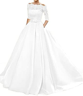 0bccaaee0515d9 Changjie Damen Bateau 3/4-Arm Brautkleider Hochzeitskleider Prinzessin  Hochzeitskleider A-Linie Langarm