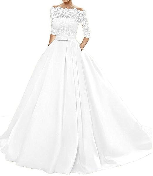 Changjie Mujeres mangas 3/4 vestidos de novia sat¡§?n Vestidos De