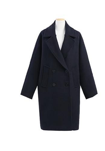 Abrigo Largo De Manga Larga Para Mujer Abrigo Acogedor Abrigo De Lana Grueso Negro Abrigo De Abrigo ...