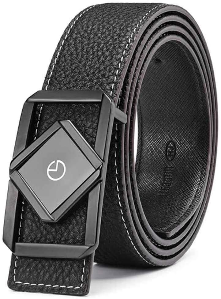 HXSD ブラックベルト、メンズビジネスカジュアルベルト、ユースボタンバックル、父の日ギフト 黒 110CM