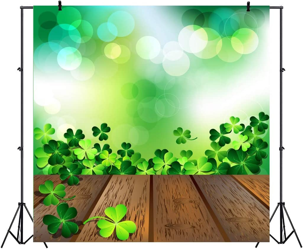 Polyester 10x6.5ft 3D Effect Crystal Clover Gold Bar Circle Blue Sky Background St.Patricks Day Backdrops Irish Traditional Festival Celebration Artistic Portrait Shoot Community Activities Luck
