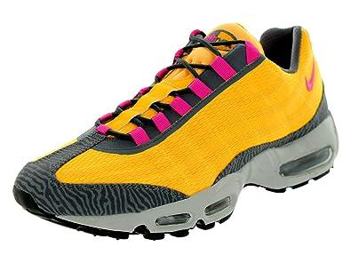 The Cheapest Nike Men's Air Max 95 PRM Tape Running Shoes Cheap - Lsr Orng/Pnk Fl/Lght Bn/Drk Gr