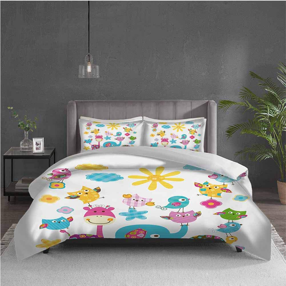 GUUVOR Nursery 3-Pack (1 Duvet Cover and 2 Pillowcases) Bedding Cute Animals Cartoon Style Happy Dancing Animals Elephant Birds Owls Polyester (Full) Sky Blue Pink Marigold