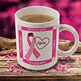 Personalized Support Ribbon Breast Cancer Awareness Coffee Mug Gift Breast Cancer Coffee Mug 11 oz. Breast Cancer gift