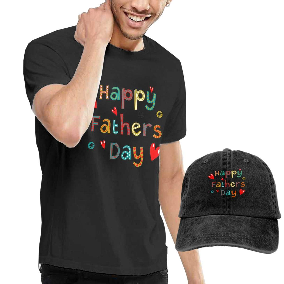 QqZXD Happy Fathers Day Fashion Mens T-Shirt Hats Youth /& Adult T-Shirts