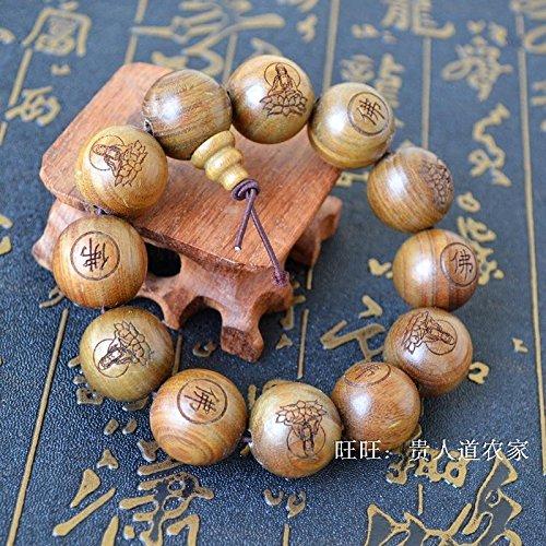New green sandalwood prayer beads bracelet bracelets men and women of prayer beads jewelry lettering Goddess of Mercy Buddhist supplies (Bracelet Goddess Green)