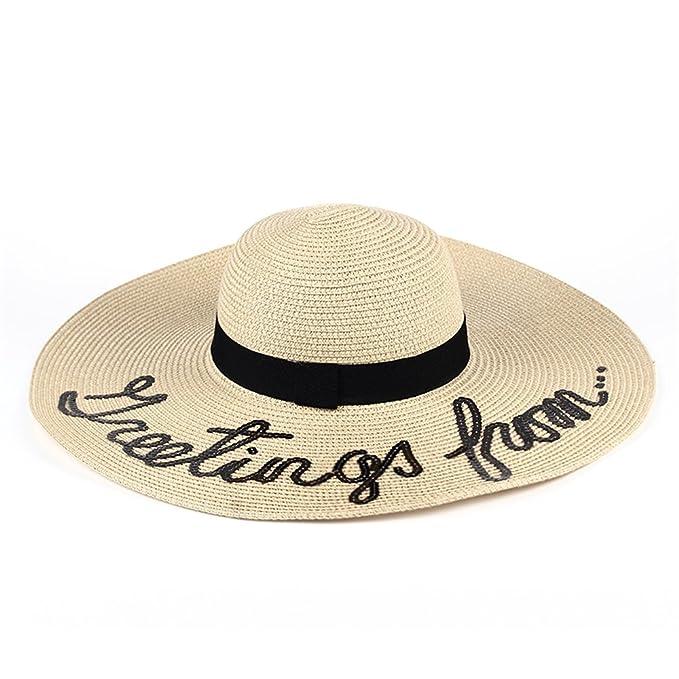 cd0cf8959f2 Hotaru Summer Roll Up Big Brim Straw Sun Hat Milk White Letter Beach Floppy  Hat