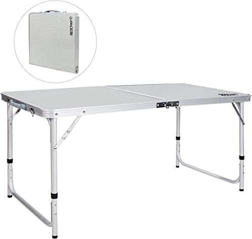 REDCAMP Folding Camping Table Portable Adjustable Height Lightweight Aluminum Folding Table for Outdoor Picnic Cooking, White 2 3 4 Foot