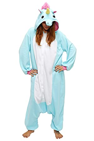 Sazac Unicornio Azul - Todo en un disfraz para adultos - Onesie Kigurumi