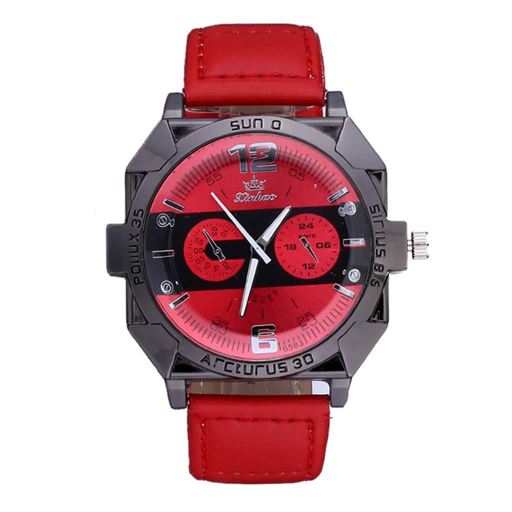 Amazon.com : XBKPLO Mens Quartz Watch, Analog Multi-Needle Wrist Leisure Sport Concise Watches Large Dial Mechanical, Leather Strap : Pet Supplies