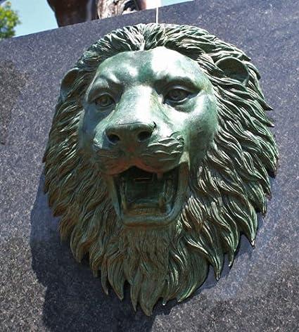 Unbekannt Bronzeskulptur L/öwenkopf in gr/ün Wandskulptur mit Wasserspeier Gartendekoration