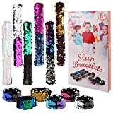 Satkago Mermaid Slap Bracelets 12 Pack Party Favors for Kids Birthday Party Prizes Gifts, Two-Color Decorative Reversible Charm Sequins Flip Wristband Bracelet for Kids, Girls, Boys, Women
