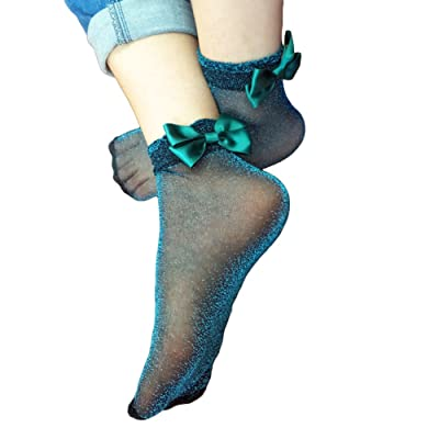 preliked Ultra Thin Silky Sheer Ankle High Tights Bowknot Hosiery Socks Reinforced Toe (Aquamarine) at Women's Clothing store