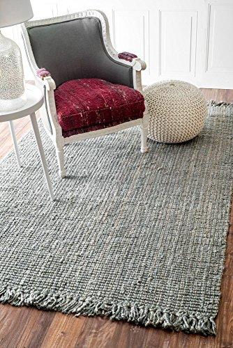 nuLOOM Grey Hand Woven Chunky Loop Jute Area Rug, 6' x 9' (Gray Wool Rug)