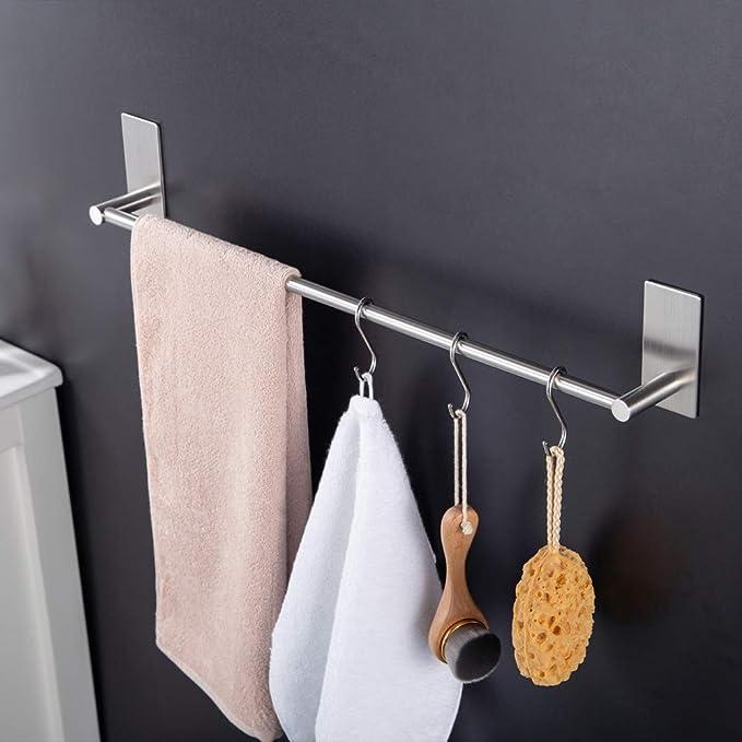 Kitlit Duoue Toallero Autoadhesivo Porta Toallas de Pared de Acero Inoxidable estanteria baño toallero Pared Ganchos Toalleros