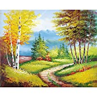 LovetheFamily 数字油絵 数字キット塗り絵 手塗り DIY絵 デジタル油絵 雪の中 秋の黄色い葉 40x50cm ホーム オフィス装飾の商品画像