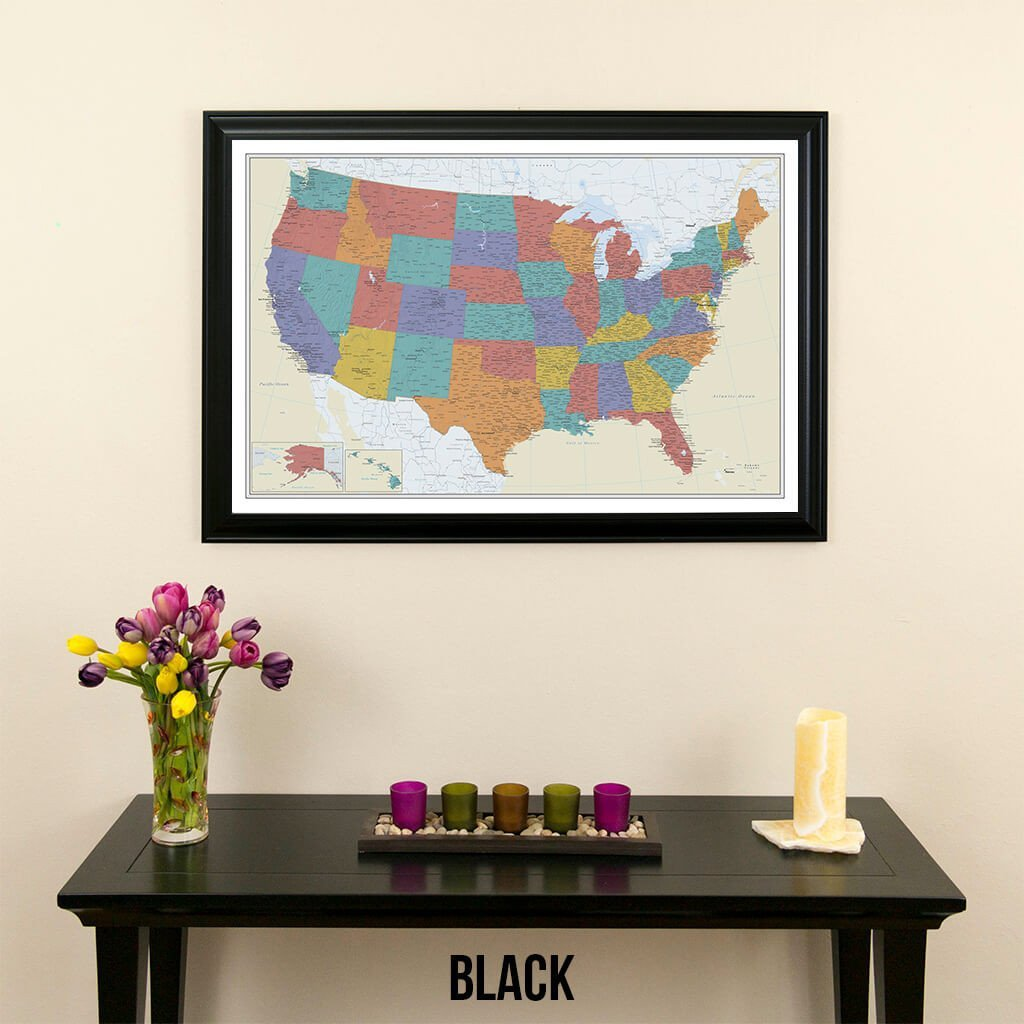 Tan Oceans USA Push Pin Travel Map with Black Frame and Pins 24 x 36 by Push Pin Travel Maps (Image #1)