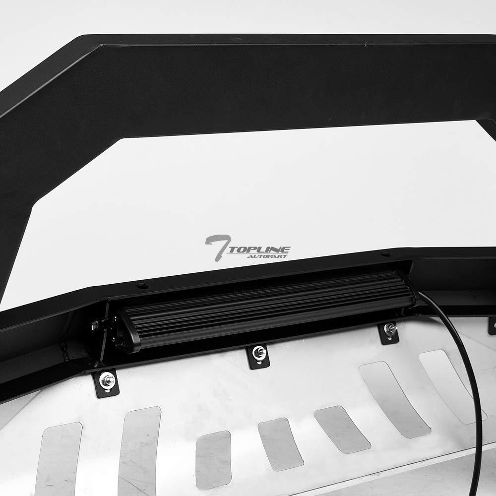 Topline Autopart Matte Black AVT Style Aluminum LED Light Bull Bar Brush Push Front Bumper Grill Grille Guard With Stainless Skid Plate For 16-19 Toyota Tacoma