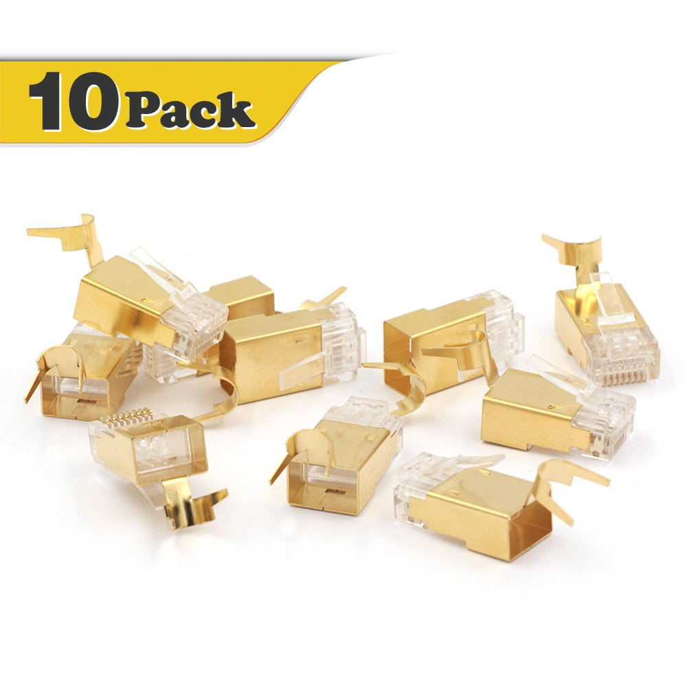 VCE Shielded RJ45 Modular Plug for Cat6A/Cat7 Cable STP Solid and Stranded Ethernet Wire - 50u Gold-Plated Connector 10 Pack SJ651-10P-CA