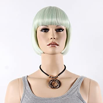 STfantasy Light Green Bob Display Female Mannequin Wigs Long Straight Synthetic Hair Blunt Bang Peluca 12