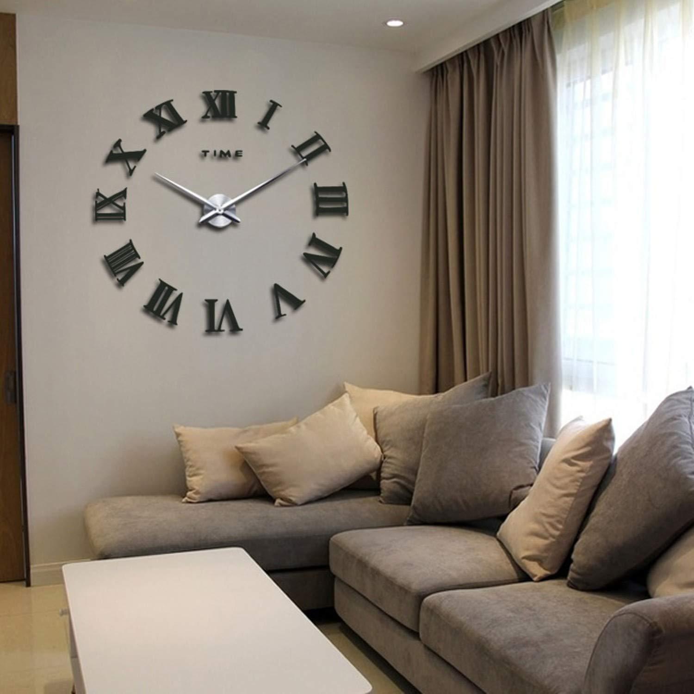 Amazon.com: Batop New Home Decor - Large Roman Mirror Fashion Modern Quartz Clocks Living Room - DIY Wall Clock Sticker Watch (Blue) (37inch): Home & ...