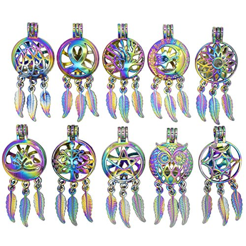 10pcs Rainbow life Tree Owl Dream Catcher Pearl Bead Cages Pendant Essential Oil Diffuser Locket Jewelry Making Necklace DIY