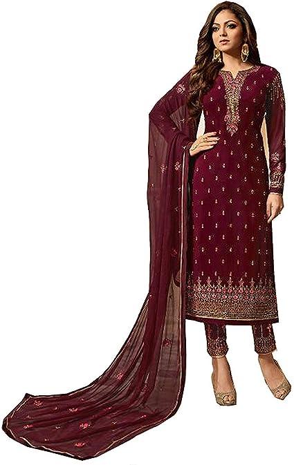 Indian Maroon Designer Stitched Georgette Partywear Plazzo Ethnic Salwar Kameez