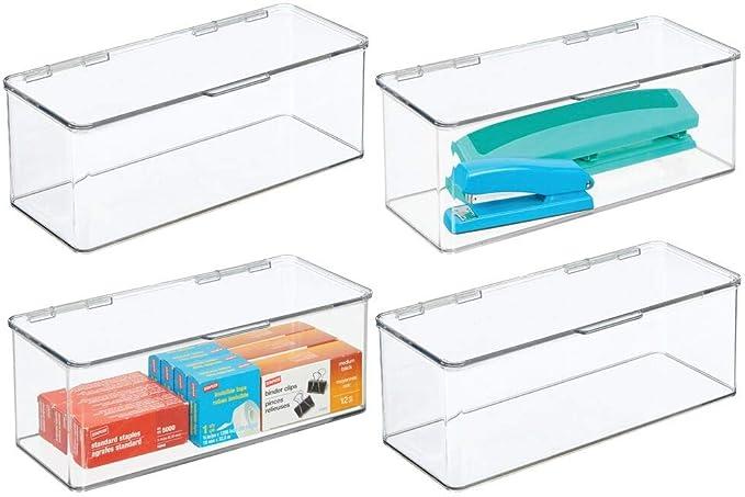 mDesign Juego de 4 organizadores de escritorio – Organizador de oficina apilable de plástico sin BPA – Caja de almacenamiento alta y con tapa para bolígrafos, gomas, etc. – transparente: Amazon.es: Hogar