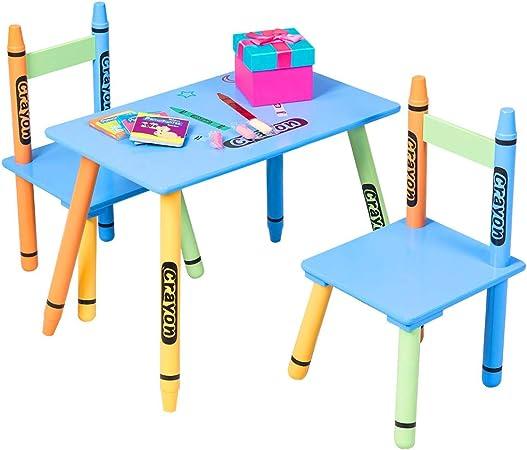 Juego de mesa y sillas para niños pequeños, de madera, para escribir y escribir en el escritorio, para dibujar, estudiar, escuela y libro electrónico: Amazon.es: Hogar