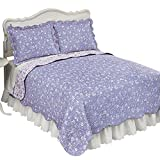 Collections Etc Floral Scroll Two-Tone Scalloped Edges Reversible Lightweight Quilt, Lavender, Twin