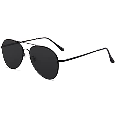 f64584817b SojoS Classic Aviator Metal Frame Mirror Lens Sunglasses with Spring Hinges  SJ1030 With Black Frame
