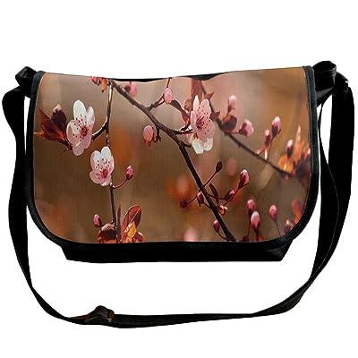 Kmeiqufan Cherry Blossom Sakura Tree Branches Flowering Japanese Flourishing Print Decorative Unisex Wide Diagonal Shoulder Bag Adjustable Single Shoulder Backpack 70%OFF