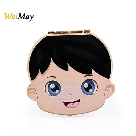 Weimay bebé caja de recuerdos de madera patrón de dibujos animados bebé Save organizador caja de