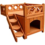 Kuyal Cat House Wooden Rabbit House Deluxe Pet Home Indoor/Outdoor Wood Cat House Shelter (Type 4)