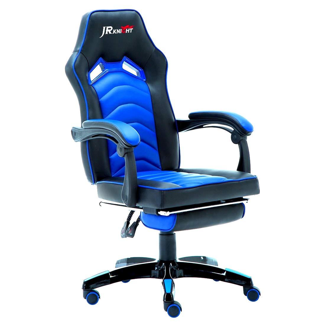 JR Knight LC-02BKBL - Silla de jugador reclinable de cuero con reposapiés, giratoria, ideal para renovar el despacho o jugar a videojuegos: Amazon.es: ...