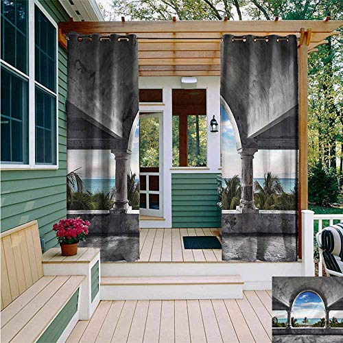 - Outdoor Curtains,Ocean Beach Palm Tree and Mansion,for Patio/Front Porch,W108x72L