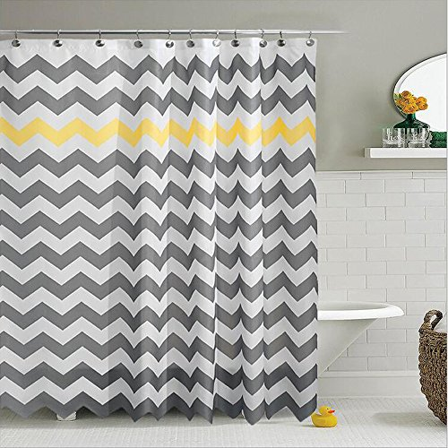 urtain Chevron Striped Bathroom Polyester Curtains Durable Waterproof Mildew Bath Sets Home Accessories Set, Water-Repellent 70.86x 70.86inches (Yellow and Grey) ()