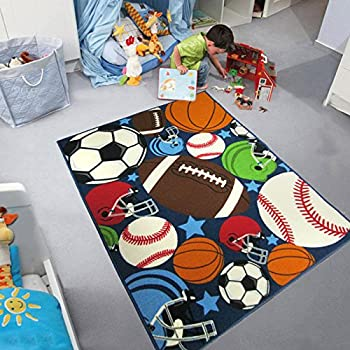 Blue Kids Rug Fun Sport Rugs Nylon Carpet Boys Girls Childrens Rug Balls Print with Soccer Ball, Basketball, Football, Tennis Ball Bedroom Playroom (100x130cm(39x51))