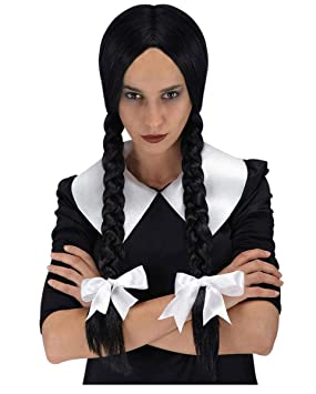 Colegiala Plait Negro peluca