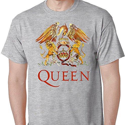 Queen Rock Music Band Crest Logo T-Shirt Medium - Guy Logo Mustache With