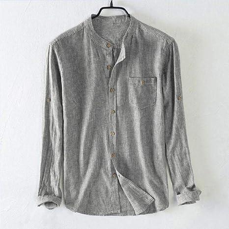 EIJFKNC Chaquetas Camisa de Hombre Cuello con Botones Cuello a Rayas Vintage Tops Pullover Camisa Casual de Manga Larga: Amazon.es: Deportes y aire libre