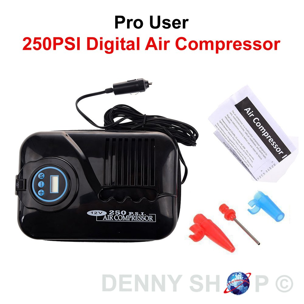 Portable Pro User 12V Digital Travel Air Compressor Electric Car Pump 250PSI Car Tyre Care Tool Denny International®