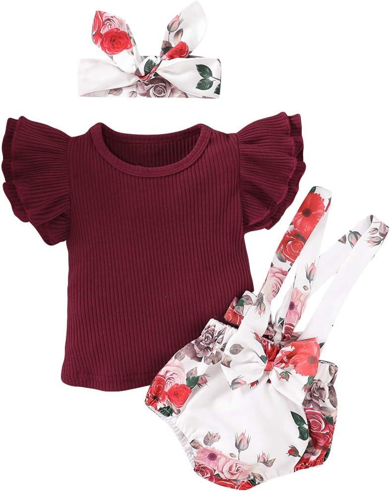 بدلة قفز رومبير للأطفال حديثي الولادة بلون سادة لطيف + فيونكة زهرة بنطال طويلة مجموعة