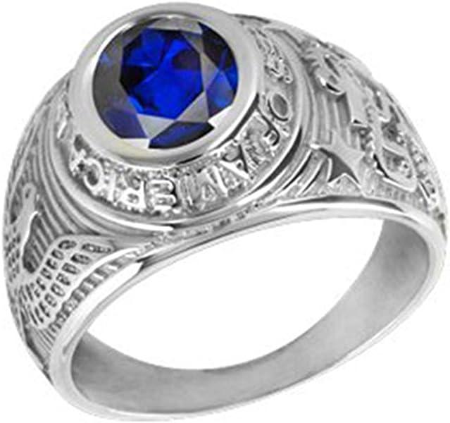 ccfdbe771ad Chevalière américaine Universitaire Argent avec oxyde de Zirconium Bleu