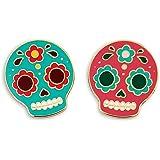 Pinsanity Cute Sugar Skulls Enamel Lapel Pins (Set of 2)