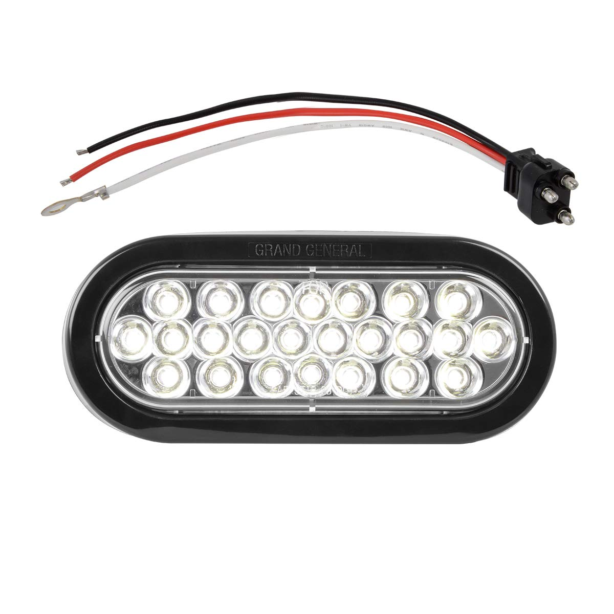 Grand General 78222BP Pearl 6'' White Oval LED Backup Light (Includes Light, Grommet and Pigtail for Trucks, Trailers, RVs, Buses, Utility Vehicles)