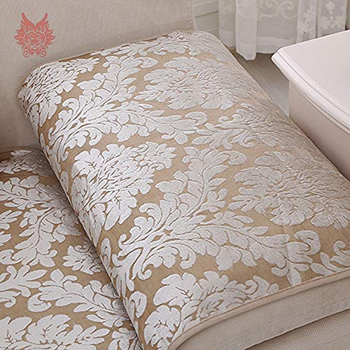 EU Style Beige Floral uard Terry Terry Terry Cloth Sofa Cover Plush Slip for Winter canape capa para Sofa SP3642 Free Shipping   Beige per pic, 60cm60cm d8103c