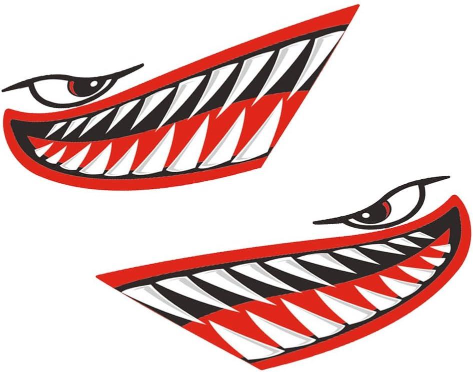 Kayak MagiDeal 4 Pezzi Vinile Stampa Bocca dei Denti dello Squalo Decalcomanie Adesivi per Barca da Pesca Canoa